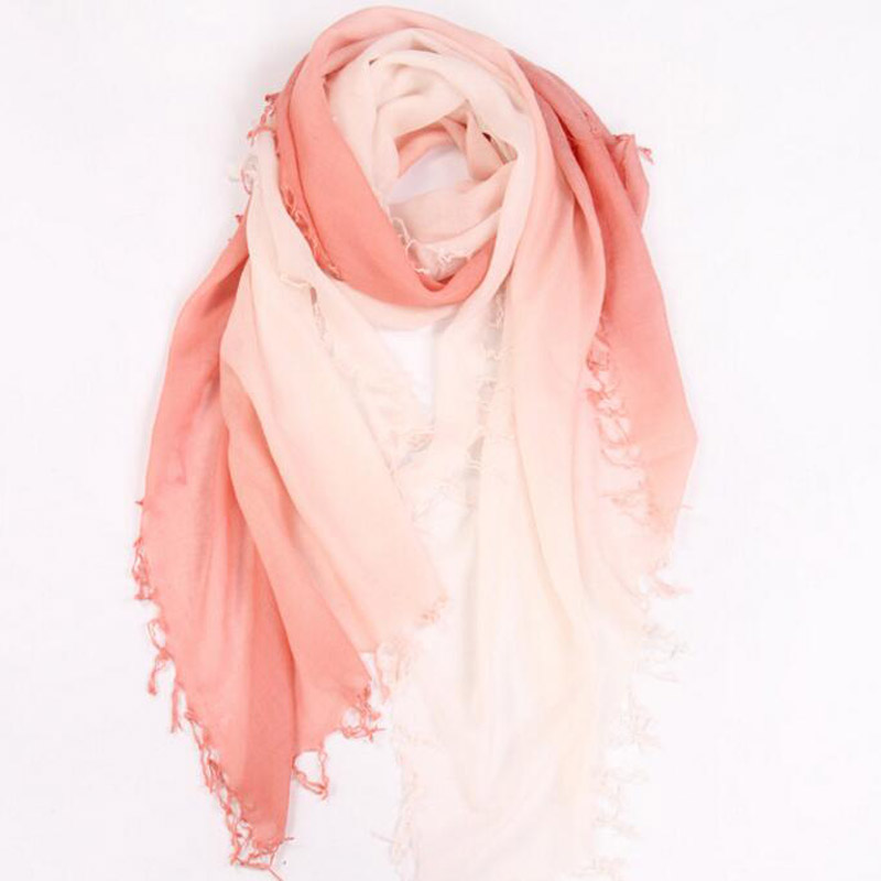 Pure Cashmere Scarves Orange Gradient Women Winter Scarf
