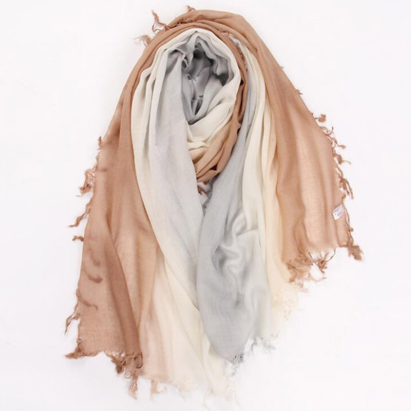 Pure Cashmere Scarves Gamel Gradient Women Winter Scarf