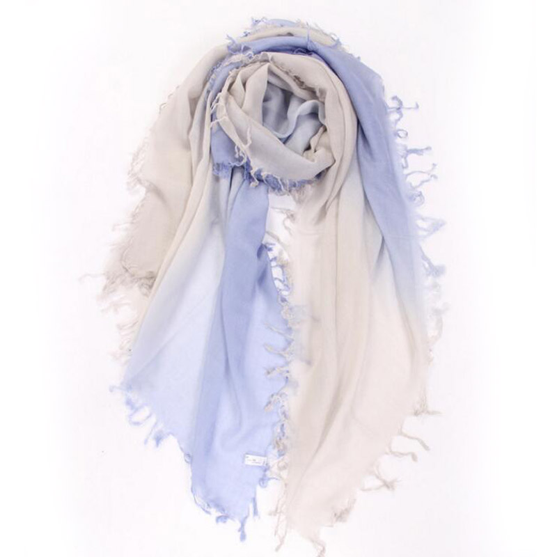 Pure Cashmere Scarves Purple Gradient Women Winter Scarf