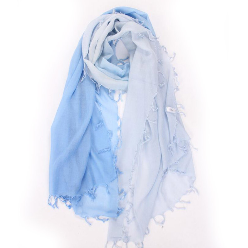 Pure Cashmere Scarves Blue Gradient Women Winter Scarf