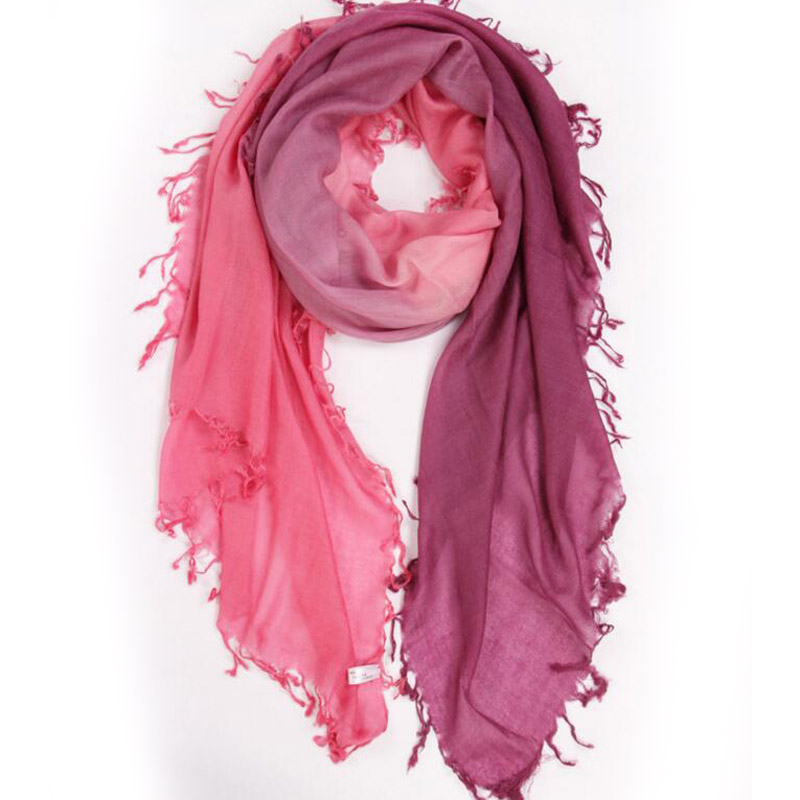Pure Cashmere Scarves Amaranth Gradient Women Winter Scarf