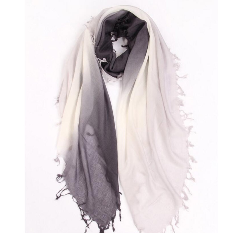 Pure Cashmere Scarves Black Gradient Women Winter Scarf