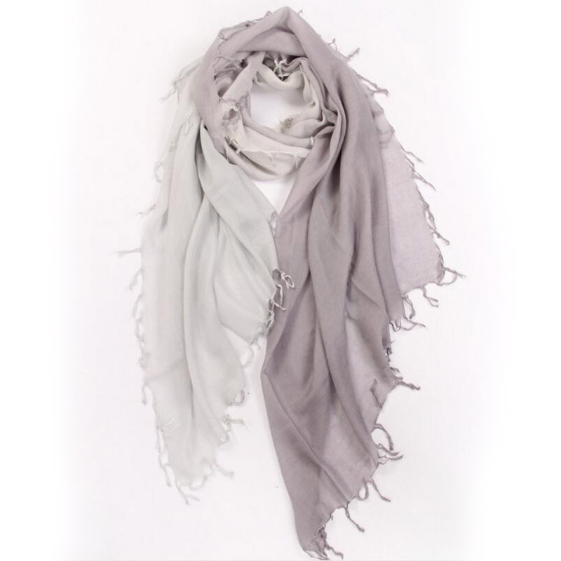 Pure Cashmere Scarves Gray Gradient Women Winter Scarf