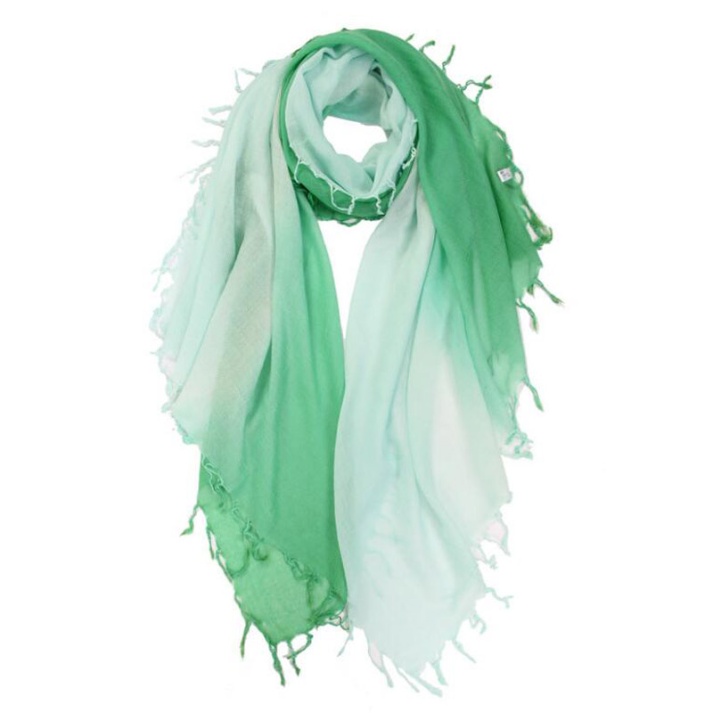 Pure Cashmere Scarves Green Gradient Women Winter Scarf