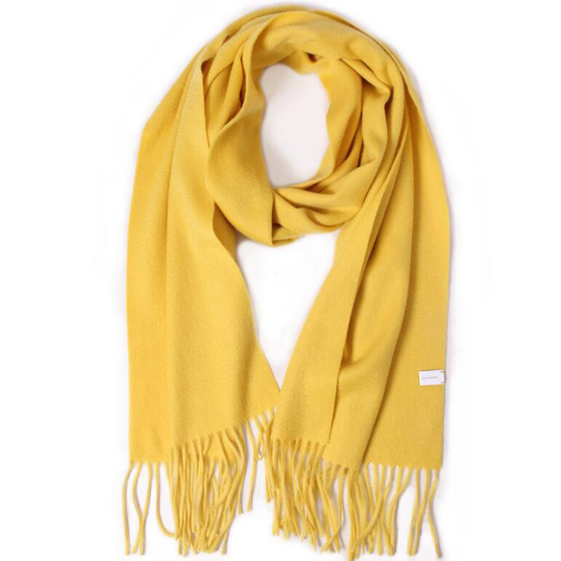 Pure Cashmere Scarves Yellow Women Winter Scarf