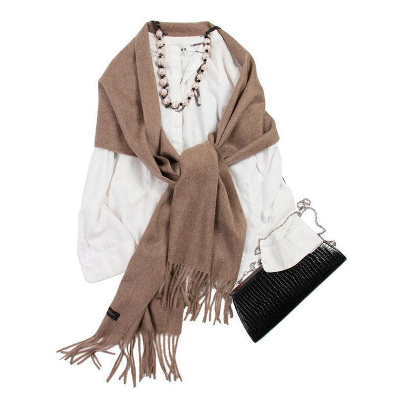 Pure Cashmere Scarves Coffee Women Winter Scarf