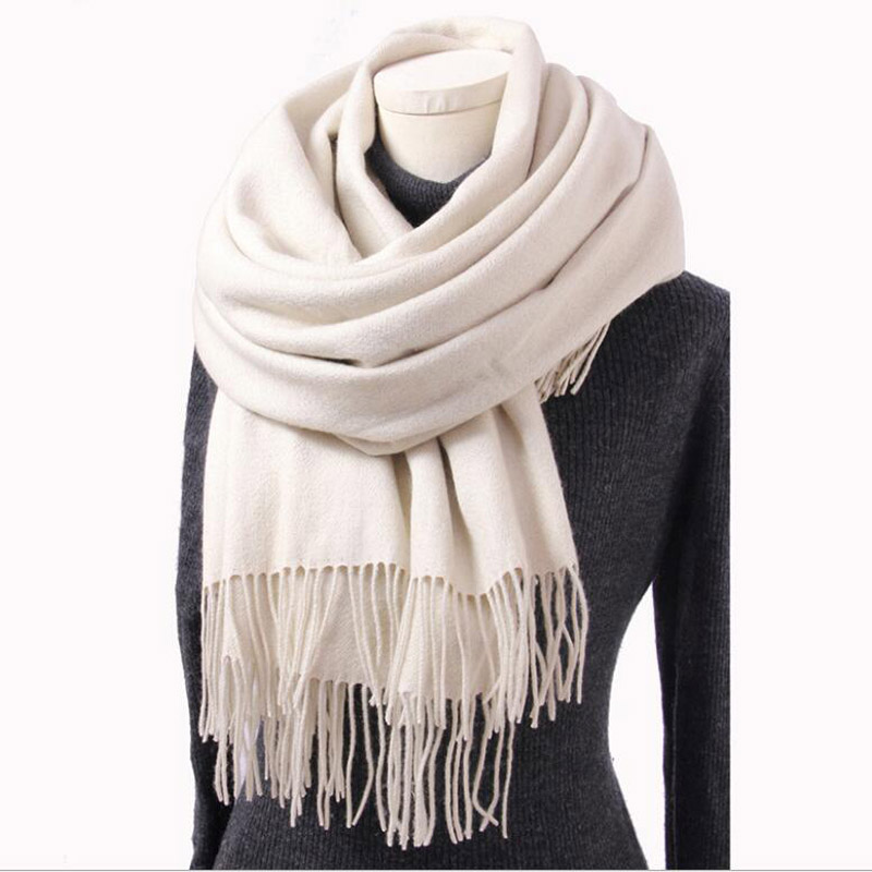 Pure Cashmere Scarves White Women Winter Scarf