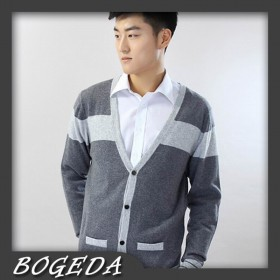 100%Cashmere Sweater Men Gray Cardigan Winter Man Sweaters