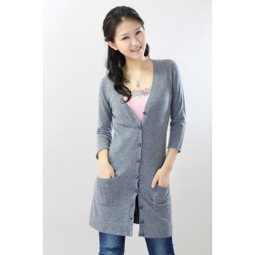 100%Cashmere Sweater Cardigan V-Neck Lady Winter Sweater Long