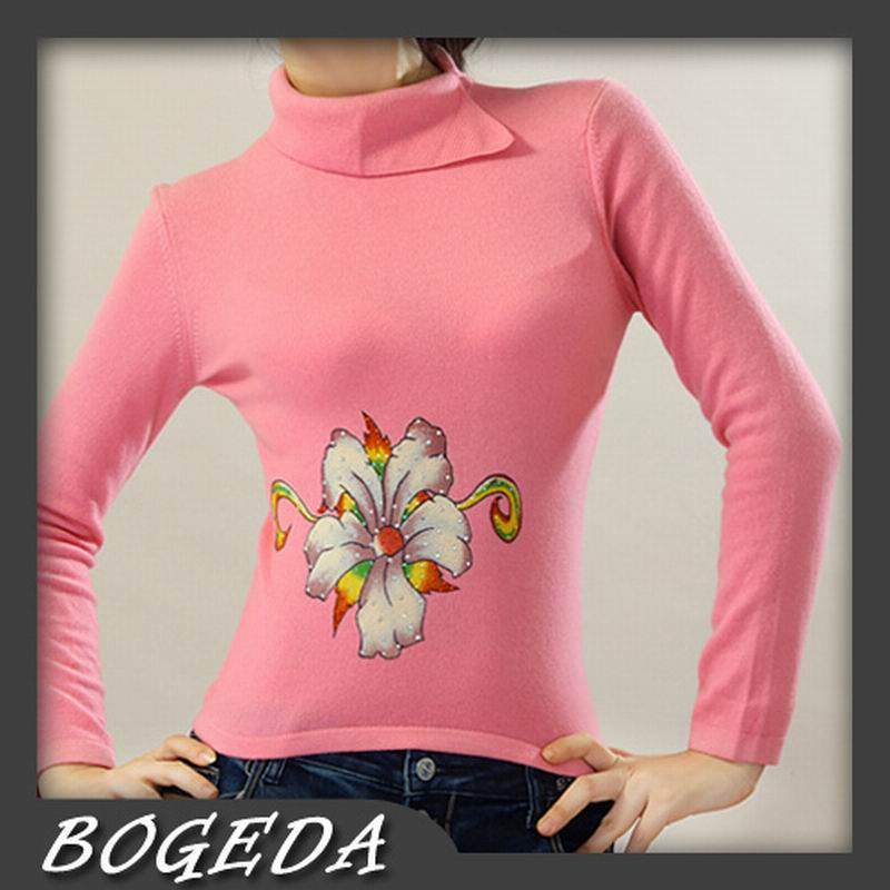 100%Cashmere Sweater Pullover Turndown neck Lady Winter Sweater pink