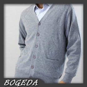 100%Cashmere Sweater Men Gray V-neck Cardigan Winter Man Sweaters