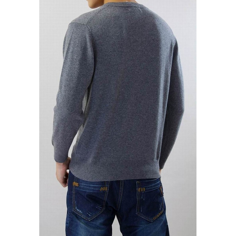 100%Cashmere Sweater Men Gray V-neck Pullover Winter Man Sweaters