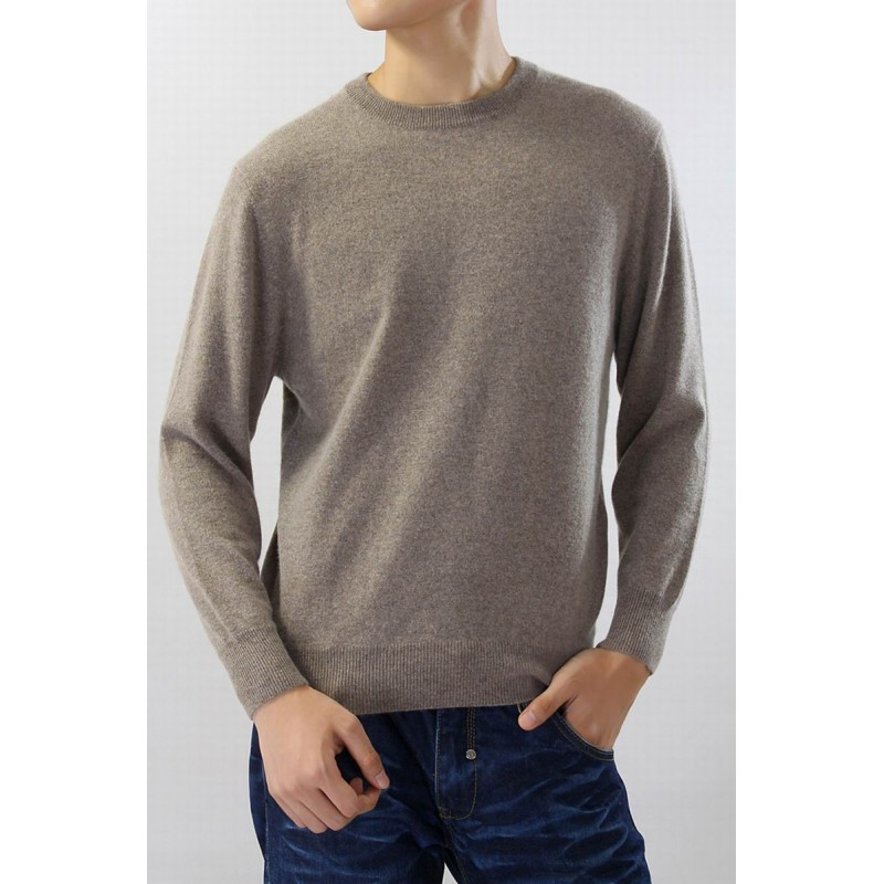 100%Cashmere Sweater Men Brown O-neck Pullover Winter Man Sweaters