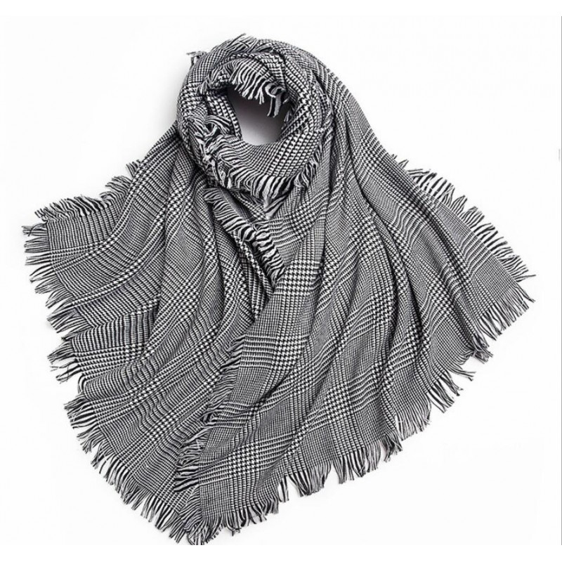 Bogeda New 100%Wool Scarf Women Luxury Brand Winter Warm Houndstooth Scarfs Thick High Quality Natural Fabric Free Shipping