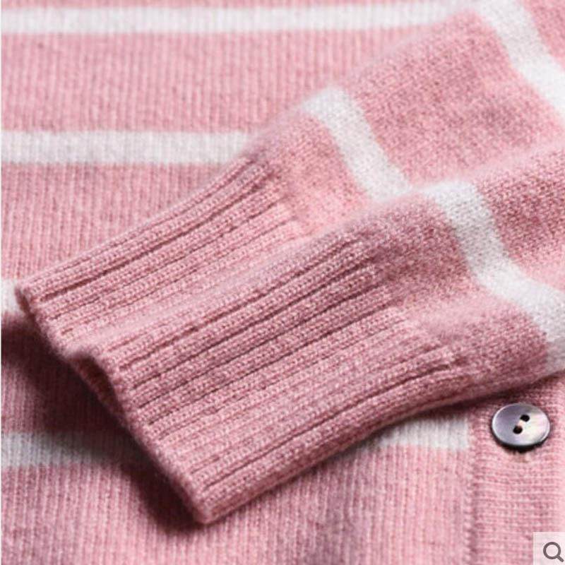 Pure Cashmere Children Sweater Pink Striped Children Winter Cardigan