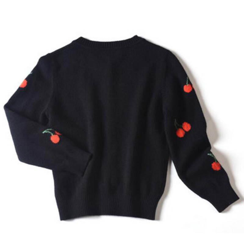 Pure Cashmere Children Sweater Black Embroidery Children Winter Cardigan