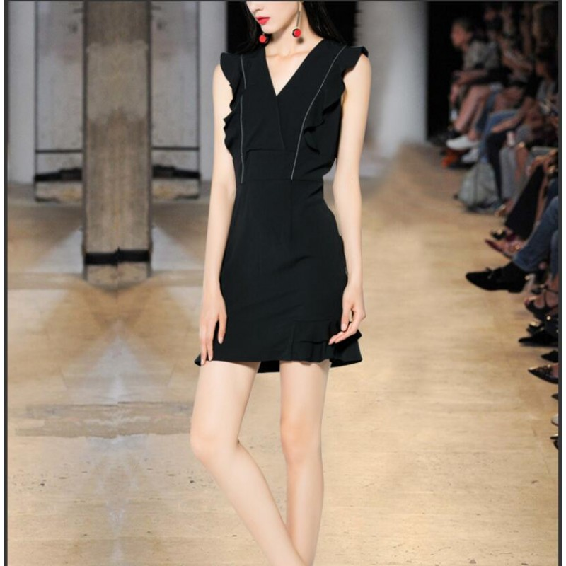 Viscose Party Dresses Black Sleeveless Women Summer Dress