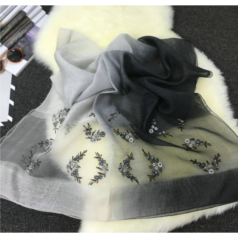 Wool Silk Scaves Black Gray Print Women Summer Scarf