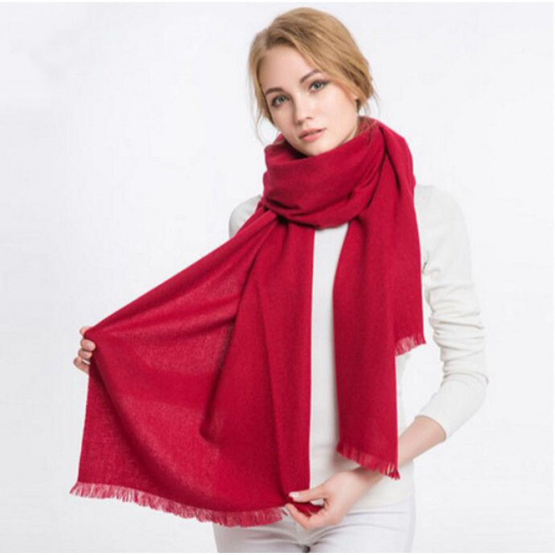 Pure Cashmere Scarves Red Women Fashional Winter Scarf