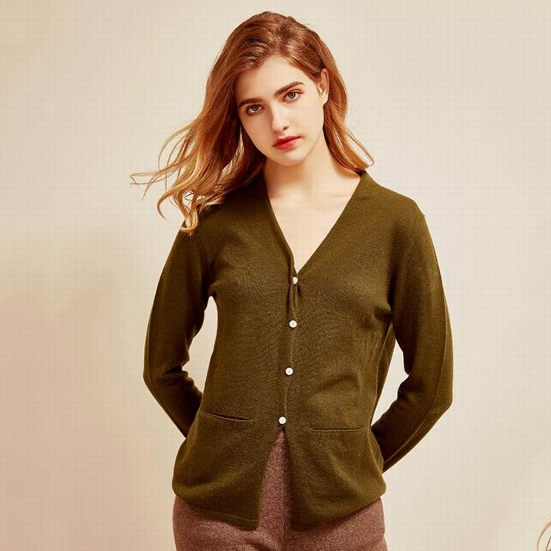 100 cashmere cardigan V-Neck Sweaters Lady Natural Fabric Soft Warm High Quality Free Shipping