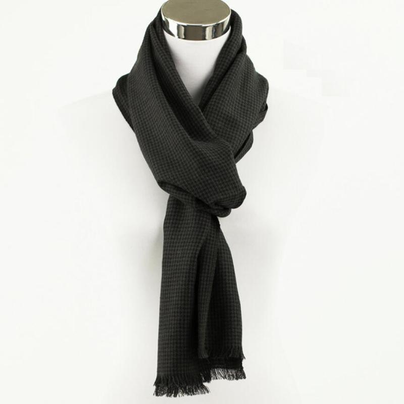 100 Wool Scarf Men High Quality Natural Fabric Gentleman Plaid Scarfs Winter Warm Free Shipping