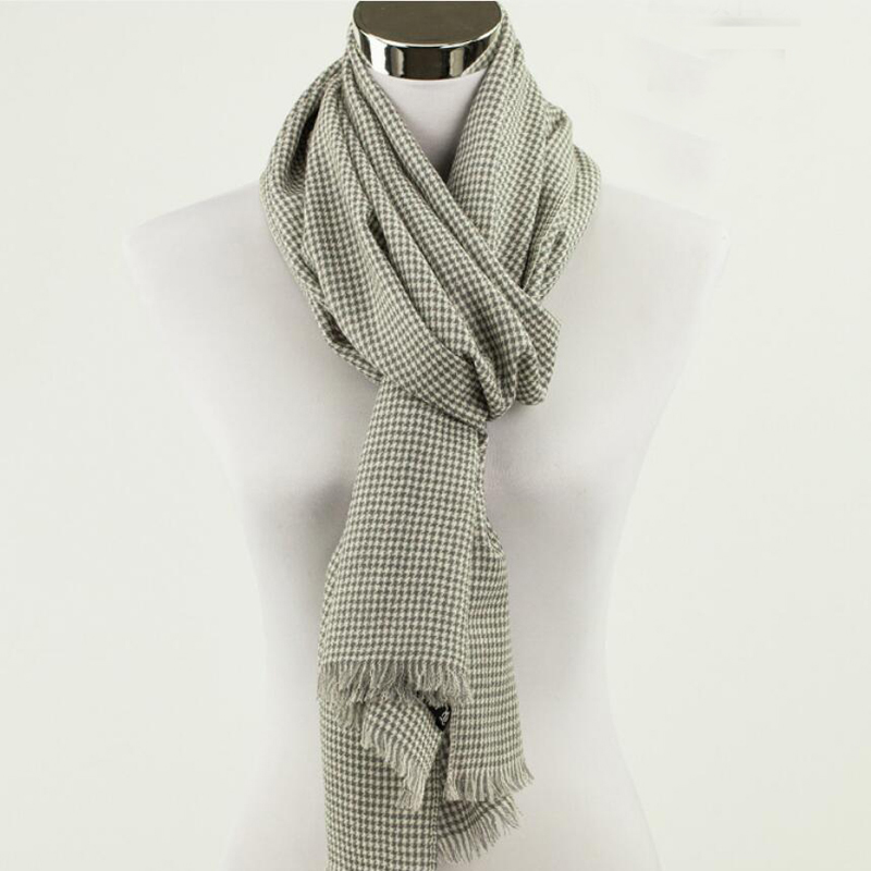100 Wool Scarf Men High Quality Natural Fabric Gentleman Plaid Scarfs Winter Warm Free Shipping