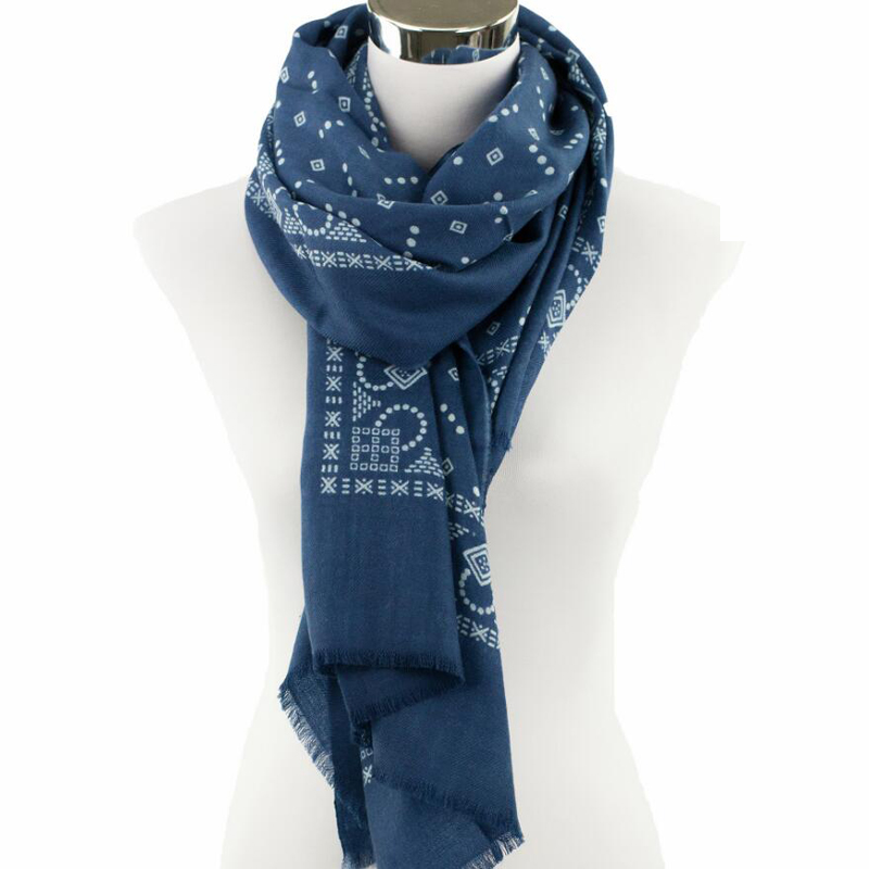 100 Wool Scarf Women High Quality Big Size Vintage Blue Print Shawls Warm Lady Gift Free Shipping
