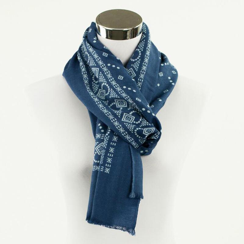 100 Wool Scarf Women High Quality Big Size Vintage Blue Print Shawls Warm Lady Gift Free Shipping