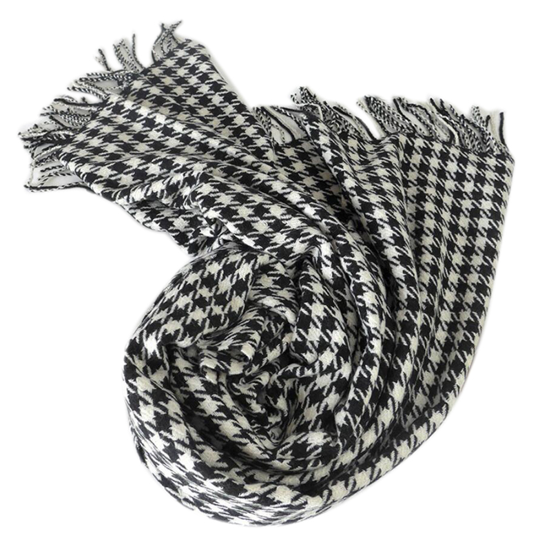 100 Wool Scarf Winter Woman High Quality Big Size Black White Shawls Warm Lady Free Shipping