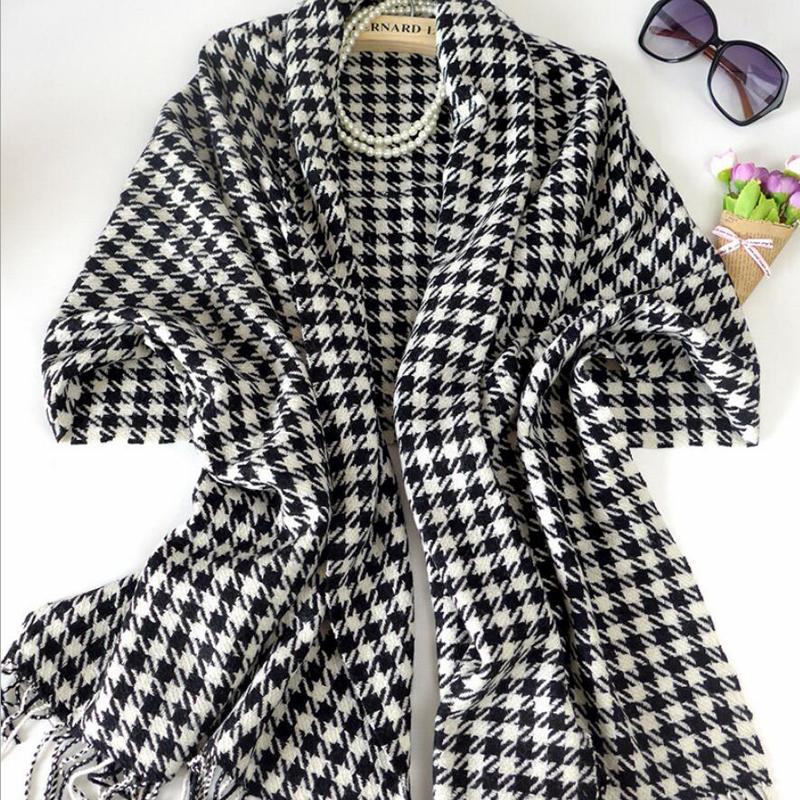 100 Wool Scarf Winter Woman High Quality Big Size Black White Shawls Warm Lady Free Shipping