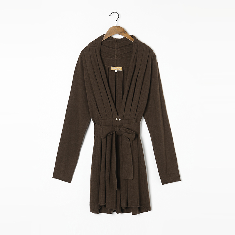 100 Cashmere Sweater Women Long Cardigan High Quality Winter Sweaters Brown Red Beige Warm Soft Solid Natural Fabric