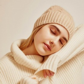 Bogeda New Pure Cashmere Hat Women Camel Khaki Ball Beanies Winter Cap Natural Fabric Soft Warm Hats Girl Gift Free Shipping