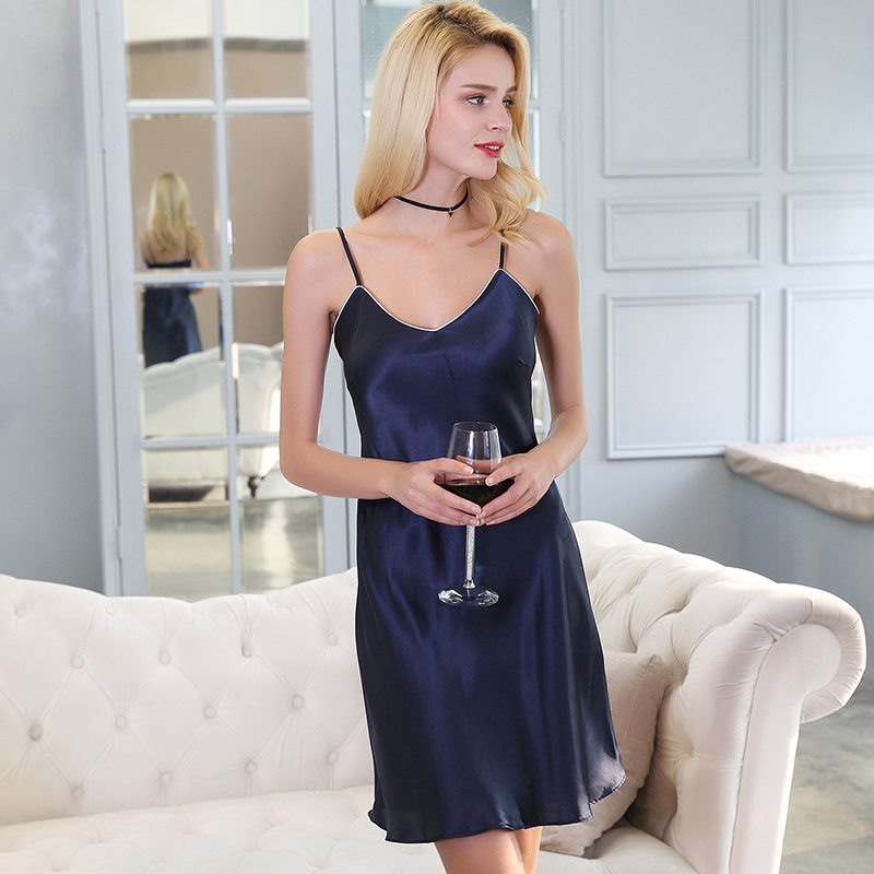 100%Silk Pajamas Dress Navy Women Nightgown Dress Summer