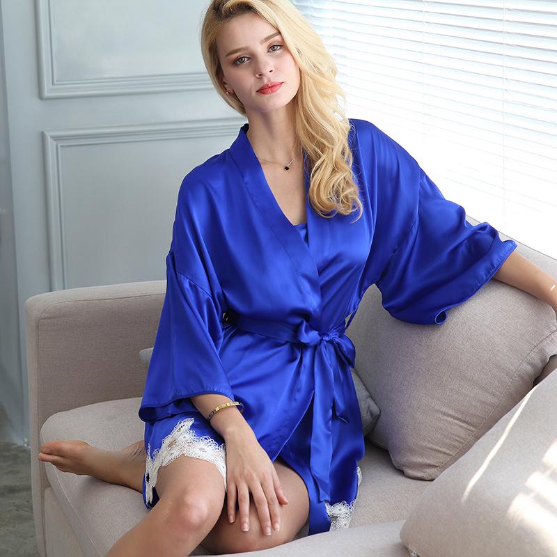 100%Silk Pajamas Dress Red Women Nightgown Dress Summer Free Shipping