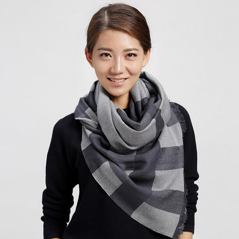 Soft Wool Scarves Black Striped Women Winter Scarf