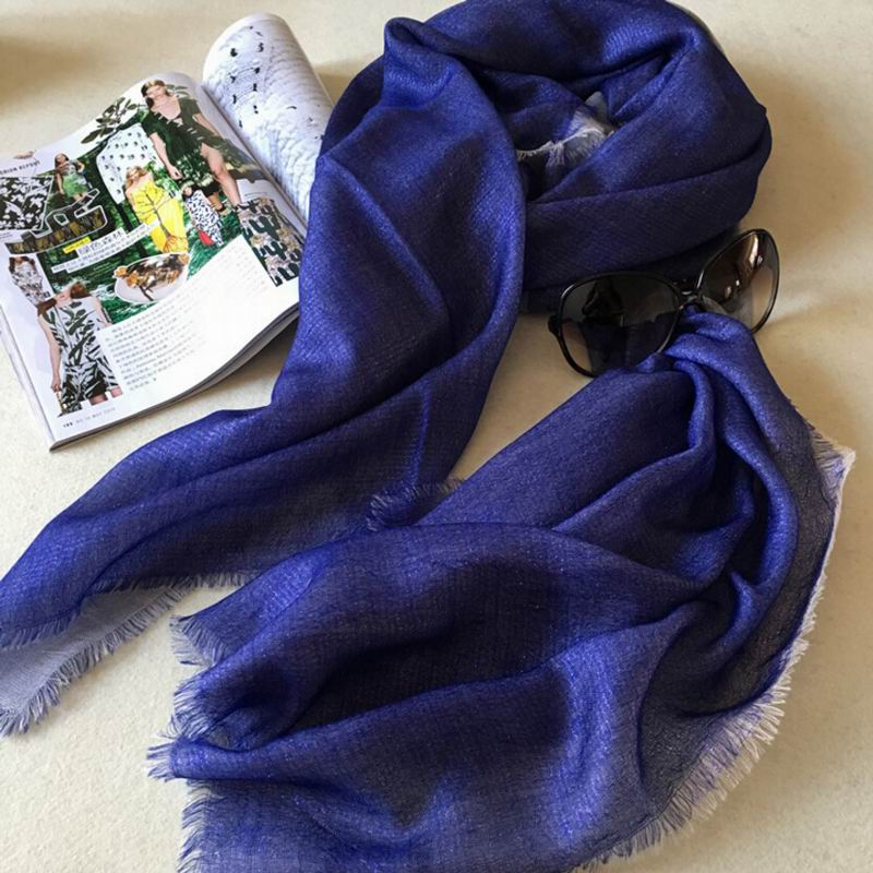 Pure Cashmere Scarves Navy Plaid Women Fashional Winter Scarf