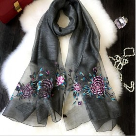 Wool Silk Scaves Black Embroidery Women Summer Scarf