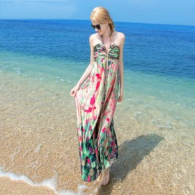 Women 100 Silk dress Beach dress 100% Natural Silk Print dress Strapless Holiday summer dresses
