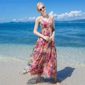 Women 100 Silk dress Beach dress 100% Natural Silk Pink Print dress Strapless Holiday summer dresses