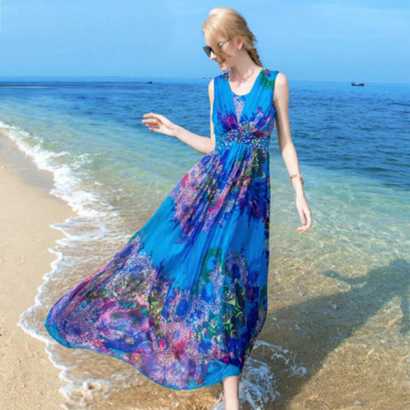 Women 100 Silk dress Beach dress 100% Natural Silk Blue Print dress Holiday summer dresses