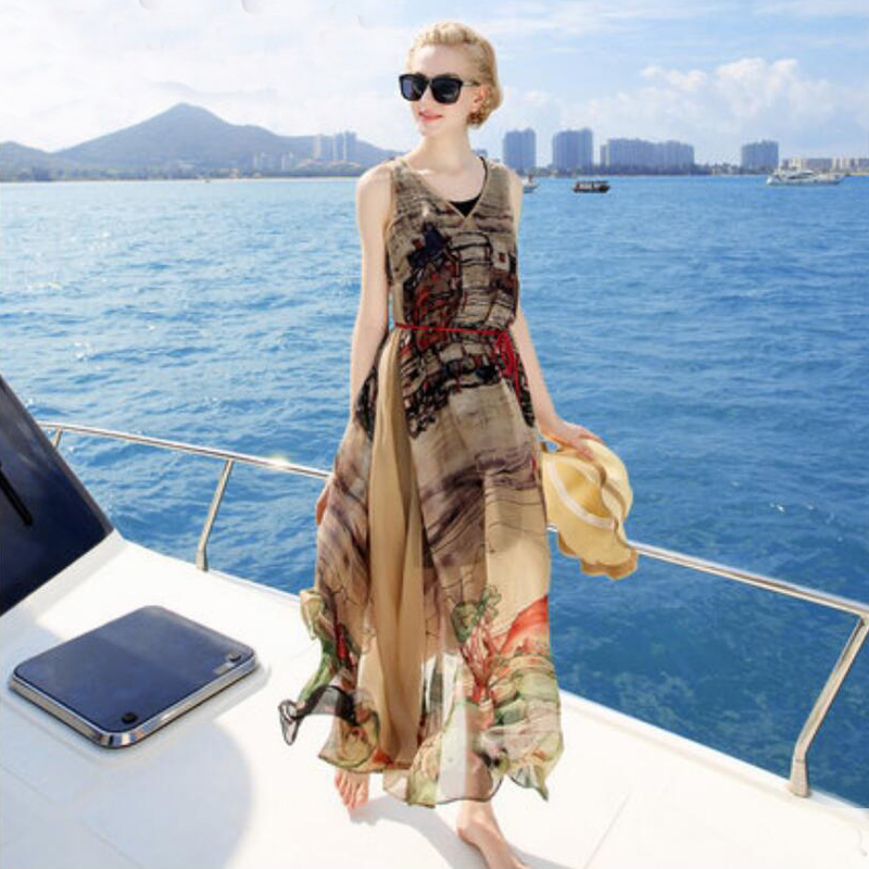 Women 100 Silk dress Beach dress 100% Natural Silk Brown Printed dress Holiday summer dresses