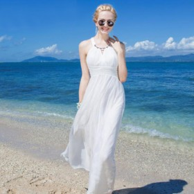 Women 100 Silk dress Beach dress 100% Natural Silk Solid White dress Holiday summer dresses