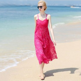 Women 100 Silk dress Beach dress 100% Natural Silk solid rose white dress Holiday summer dresses