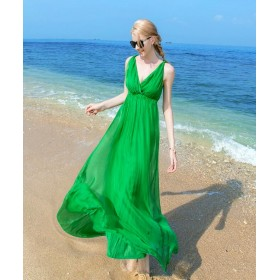 Women 100 Silk dress Beach dress 100% Natural Silk solid rose green white dress Holiday summer dresses