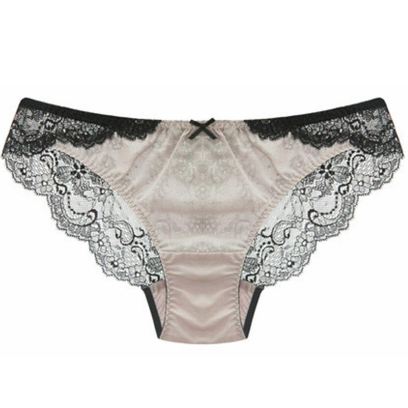 100% SILK basic women PANTIES high quality Beige Lace Sexy ladies lingerie calcinha briefs underwear calzoncillos