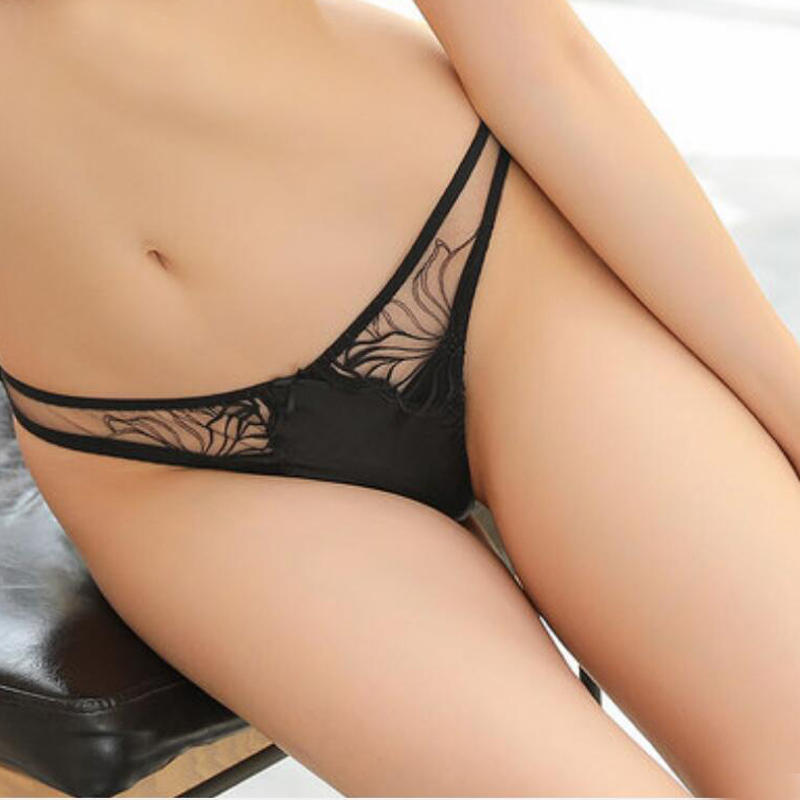 100%Silk women Underwear PANTIES high quality Black Sexy LACE ladies thong G-string TANGA calcinha briefs underwear hipster