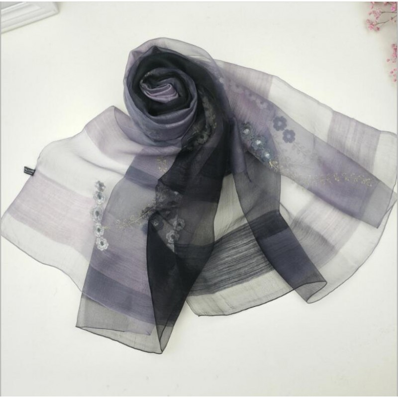 Wool Silk Scaves Black Plaid Women Summer Scarf