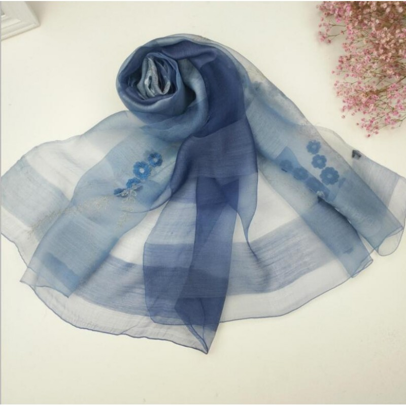 Wool Silk Scaves Blue Plaid Women Summer Scarf