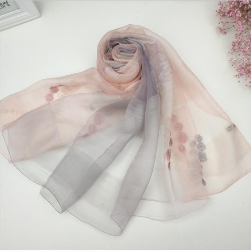 Wool Silk Scaves Pink Gray Plaid Women Summer Scarf