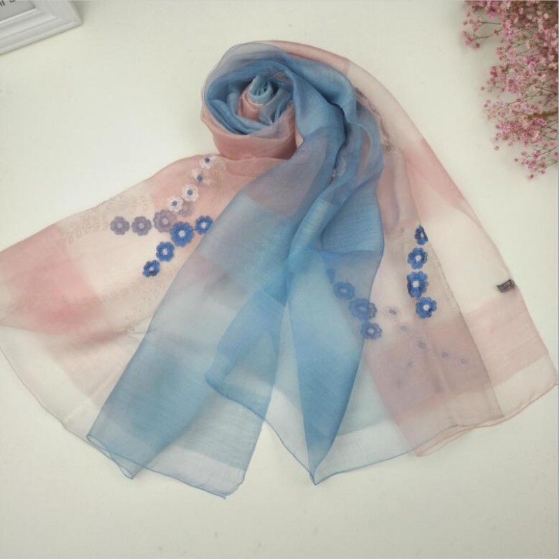 Wool Silk Scaves Pink Blue Plaid Women Summer Scarf